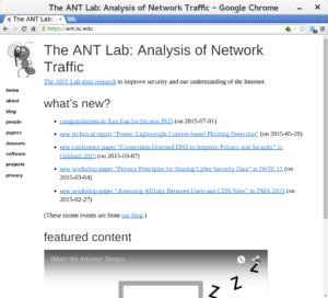 The new ANT web home page