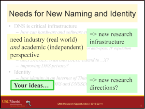Needs for new naming and identity research prompt new research infrastructure, enabling new research directions.