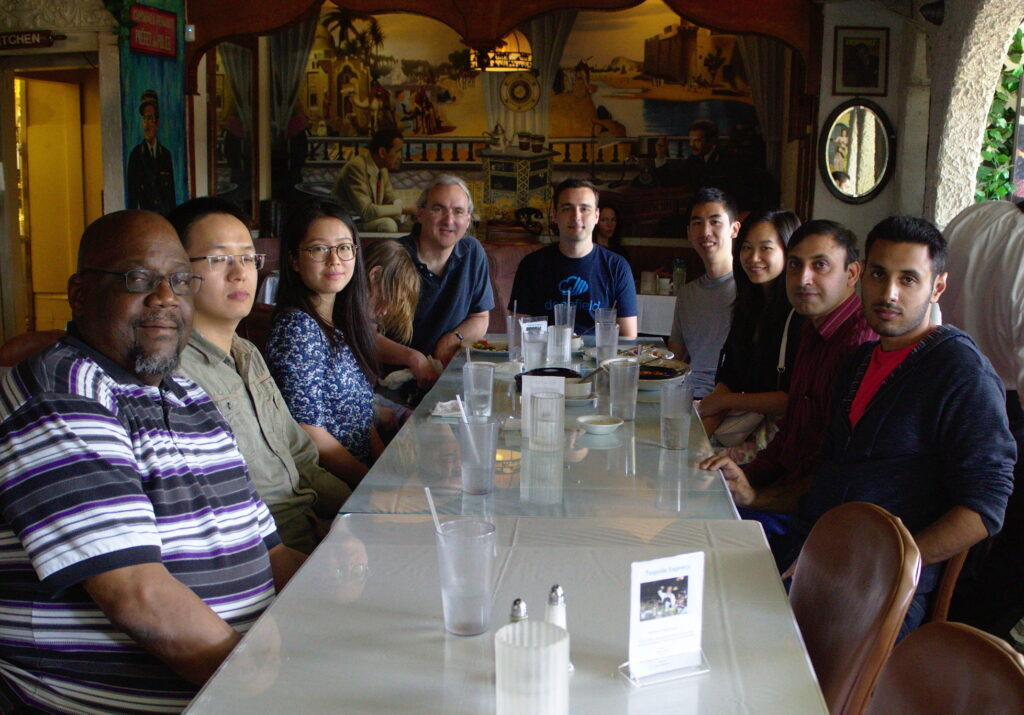 A going-away lunch for Ricardo Schmidt (at the head of the table), celebrating his time at USC/ISI as a visiting scholar, with the ANT lab and guests.