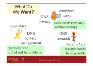 A slide from the [Heidemann17a] talk, looking at what different DNS stakeholders may want.