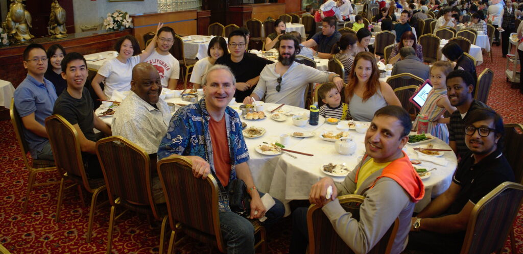 A going-away lunch for Liang Zhu (on the left), celebrating his PhD graduation, with the ANT lab and family members.